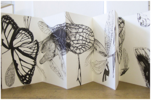 pen and ink accordion fold book