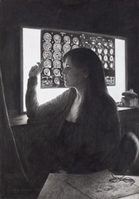 Self portrait of UT Art Alumna, Leslie Adams
