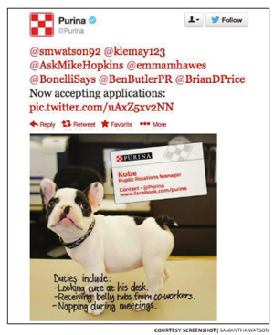 A screenshot of Purina having fun with Samantha's tweet idea