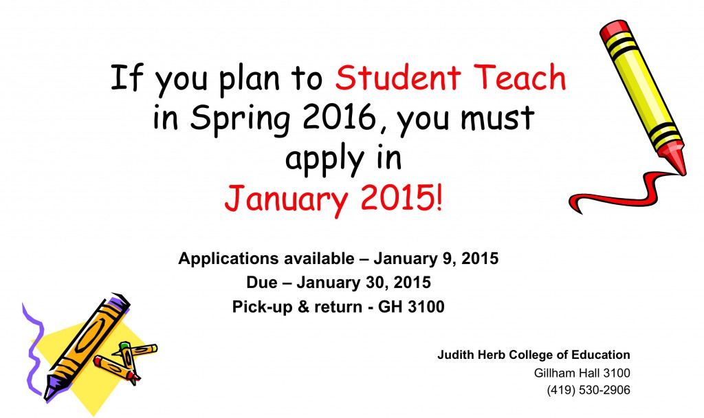 Apply to Student Teach in Spring 2016