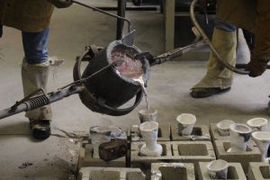 Photo of metal pouring at UT