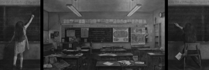 Photo of Leslie Adams work, child on left at a chalkboard, empty classroom scene in center, child as an adult on the righ