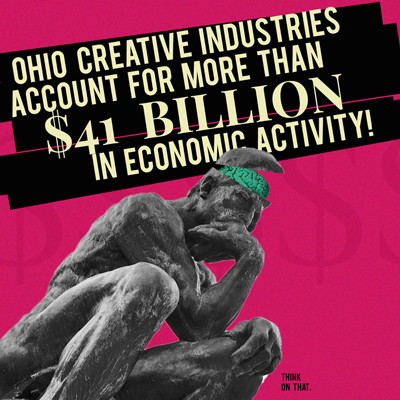 A graphic describing how the Arts in Ohio have contributed more than $41 billion dollars to the economy in 2018